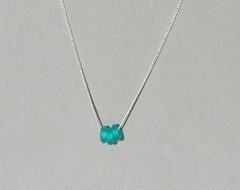 Turquoise Seaglass Glass Donuts Necklace