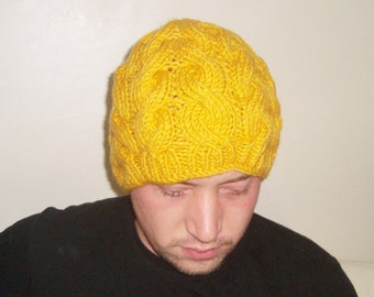 Cable Knit Hat Men Mustard Hat Mustard Beanie - Mens Hat Winter Hat - Knit Accessories Gift For Him - READY TO SHIP