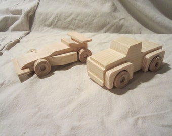 Set of 2, Wooden Indy car and Pick-up truck toy wood durable boy child handmade toddler small little baby nowcreations