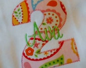 INVENTORY CLOSEOUT SALE - Personalized  Appliqued  Number Shirt - Choose Your Fabrics