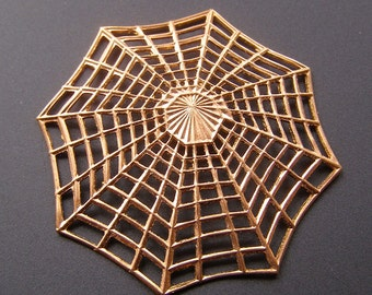 Brass Stamping Stampings Vintage Spider Web Stamped Finding