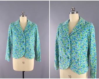 Vintage 1960s Jacket / 60s Blazer / Mod Aqua Blue Floral Print Velvet Coat / Bobbie Brooks / Size Medium M