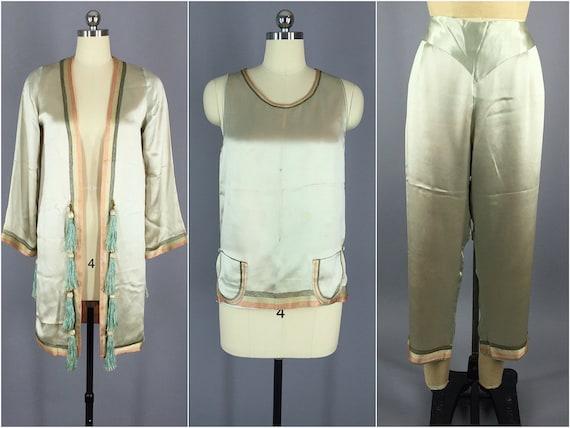 1920s Silk Pajamas / Vintage Pajamas / Vintage Loungewear /