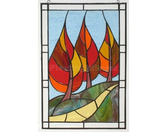 Stained Glass Panel - MADE to ORDER - Flaming September - Autumn Landscape CUSTOM