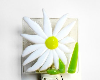 Daisy Night Light Fused Glass White Yellow Easter Nightlight Handmade OOAK