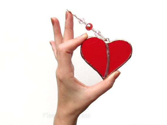 Stained Glass Heart Suncatcher Red Handmade OOAK