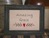 "UNFRAMED Amazing Grace Primitive Stitchery Picture fits 5x7"" Church Religious Gift Idea Present God Country Home Wall Decor New wvluckygirl"