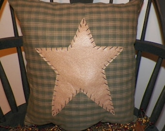 UNSTUFFED Primitive Pillow Cover Barn Star Prim Country Rustic Green Home Decor Folk Art Decoration Stitchery Penny Rug Style wvluckygirl