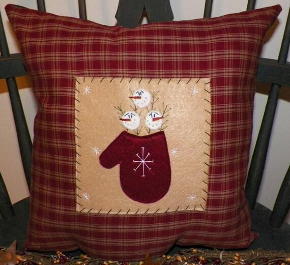 UNSTUFFED Primitive Snowman Pillow Christmas Winter Mitten