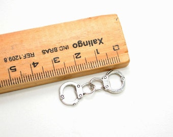 8 Pcs. Antique Silver Plated Handcuff Charms