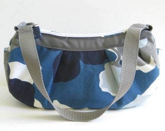 Small Pleated Shoulder Bag in Blue, Gray and White Floral