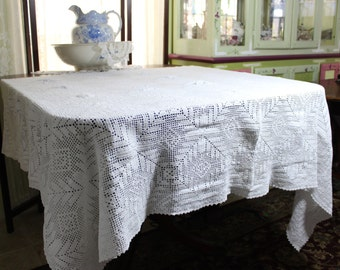 Filet Crochet Tablecloth - Vintage White Table Cloth or Topper - Filet Crocheted 11794