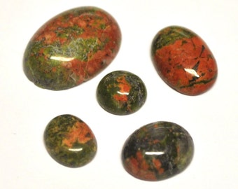 Natural Unakite Oval/Round Cabochons AAA - 5 pcs Parcel - 8.0-18.0 mm - 21.9 ct - 150501-24