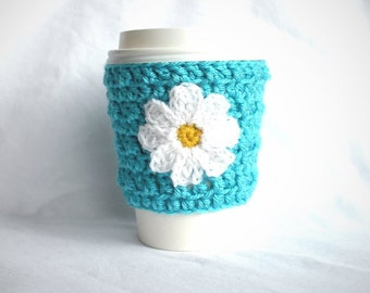 Daisy travel mug cup cozy coffee crochet aqua