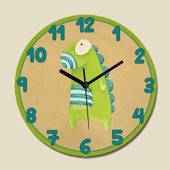Kids clock children room decor green dinosaur monster by for Kids room clock