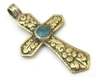 Reversible Tibetan Brass floral repousse cross Pendant  with turquoise inlay - PM480