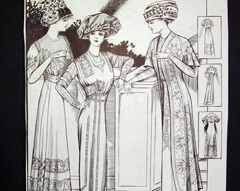 1909 L'Art Mode Original Magazine Page, Artist Hand Drawn Ladies, Skirt, Gown, Coat , French Magazine, French Style, Victorian Fashion