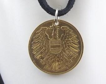 Eagle Coin Necklace, Austria 20 Groschen, Coin Pendant, Leather Cord, Mens Necklace, Womens Necklace, Coin Jewelry, Birth Year, 1954