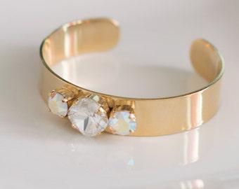 Harper Cuff Bracelet with 1 Clear Swarovski Stone and 2 Iridescent Stones