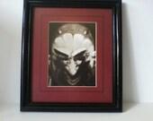 """Vintage Devil Sepia Tone Print """"Gossip"""" Framed Matted"""
