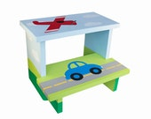 Large 2 Step Stool - Custom Hand Painted Children's Bench Seat Car Airplane Transportation or Any Kids Theme
