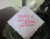 Personalized Mother of the Bride machine embroidered wedding handkerchief by Sweet Sewing Jeans