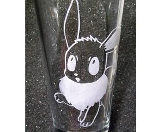Pokemon Eevee etched pint beer glass tumbler
