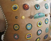 """Vintage Girl Scout Badge Pillow Cover 20""""x20"""" One of a Kind Be Prepared!"""