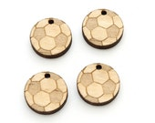 Soccer Ball Charm -  Sports Wood Cut Out . Jewelry Finding . Solid Maple