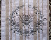 Whim - Casserole (Oatmeal)  - Laurel and Napoleonic Bee - Cotton 20x30 Designer Kitchen Hand Towel