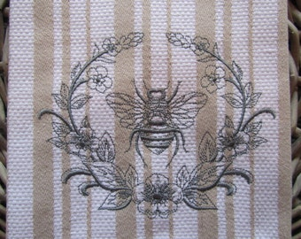 Whim - Casserole (Oatmeal shown)  - Laurel and Napoleonic Bee - Cotton 20x30 Designer Kitchen Hand Towel