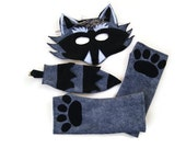 Raccoon Costume, Raccoon Mask, Raccoon Tail, Raccoon Paw Glovelets,  Woodland Animal, Animal Birthday Party Favor, Halloween Costume
