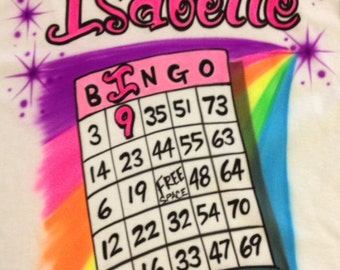 Airbrush Bingo T-Shirt Personalized with Name size S M L XL 2X Airbrushed T Shirt