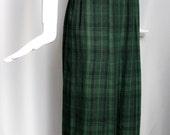 1990s vintage COMME des GARCONS green black tartan plaid lightweight pleated grunge schoolgirl column midi skirt XXS 0 2
