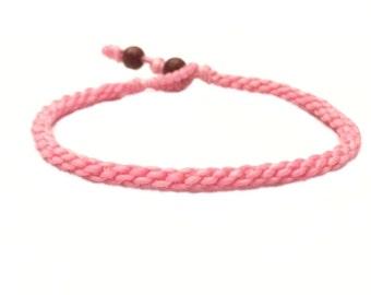 Classic Fair Trade Soft Pink Cotton Handcrafted Thai Buddhist Wristband Bracelet