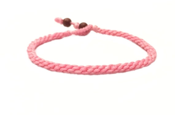 Classic Fair Trade Soft Pink Cotton Handcrafted Thai Buddhist Wristband Bracelet