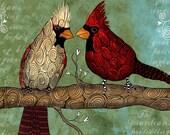 King and Queen / Cardinals / original illustration ART Print SIGNED / 8 x 10 / NEW