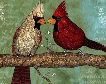 King and Queen / Cardinals / original illustration ART Print SIGNED / 8 x 10 / NEW