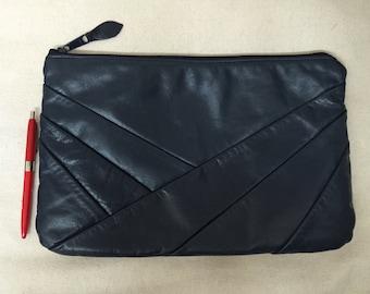 Vintage Midnight Blue Oversized Clutch or Purse.  Bank Zippered Large Pouch Handbag. Haiti.  Art Deco pleated stripes.