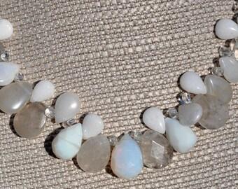 White Quartz Wedding Briolette Necklace