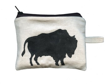 American Bison Hand Stamped Coin Purse by SBMathieu