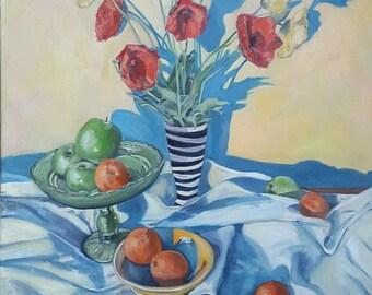 Oil Painting Stillife - Striped Vase Painting - Dutch Oil Painting - Netherlands Oil Painting - Striped Vase - Poppy Painting Dutch Painting