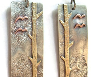Silver Brass Copper Tree Flying Birds Earrings