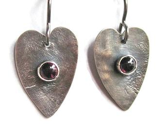 Silver Garnet Heart Earrings