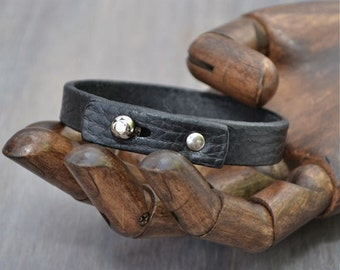 Black Leather Bracelet, Original Design, Hand Made, Mens Leather Bracelet, Mens Black Leather Bracelet, Womens Black Leather Bracelet