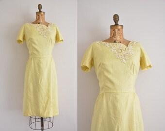 vintage 1950s dress / yellow beaded wiggle dress / 1950s linen dress