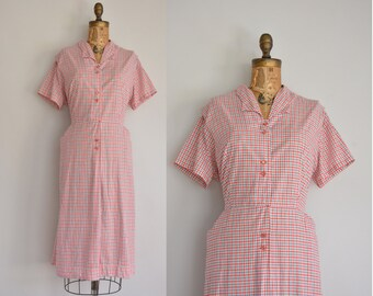 vintage 1950s dress / Hattie Leeds plaid dress / 50s cotton dress