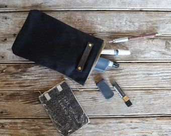 Waxed Canvas Scribbler Pouch in Coal, Accessories Cases, Waxed Canvas Bag, Pencil Case, Cosmetic Case, Makeup Bag, Zipper Pouch, For Him