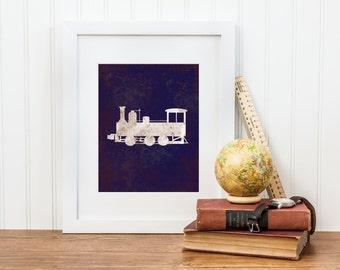 Train Nursery Art - Digital Download - Vintage Train Engine Print - Boy Train Nursery