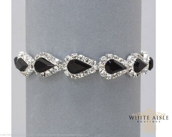 Black Rhinestone Bracelet, Bridal Bracelet, Evening, Statement Bracelet, Bridesmaids Jewelry, Formal